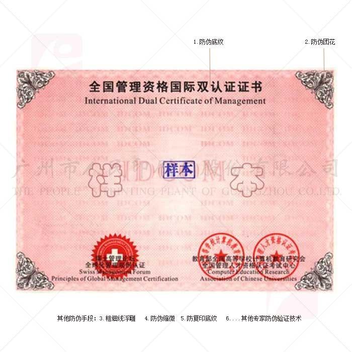防伪证书-全国管理资格国际双认证证书设计