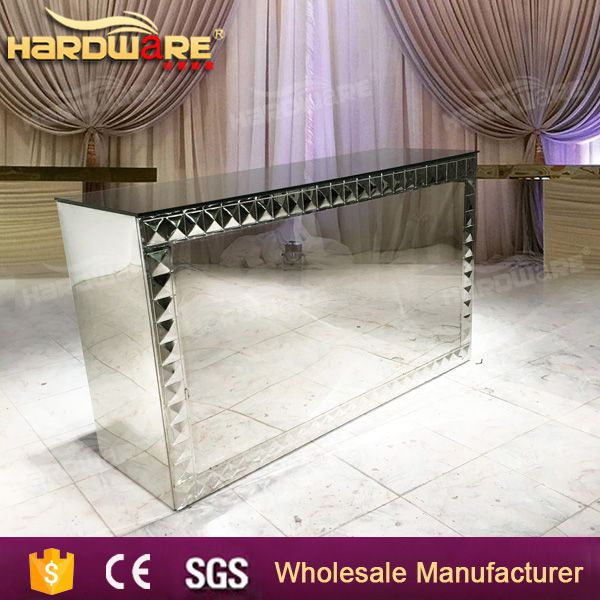 mirrored glass reception counter pub table for bar