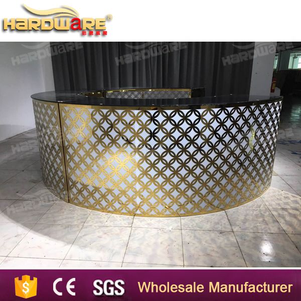 big size glass top stainless steel round bar table