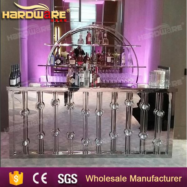 stainless steel mirror glass top long bar table