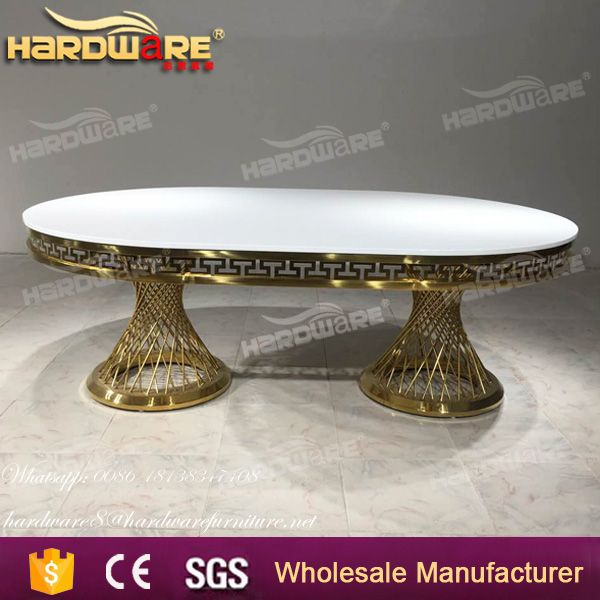 mdf top long stainless steel base dubai wedding banquet table