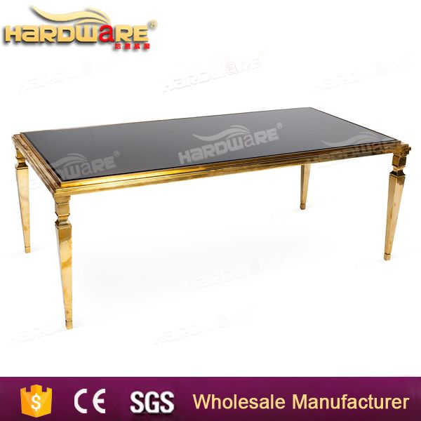 golden stainless steel glass top wedding dining table