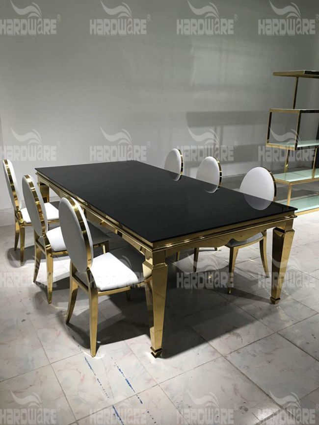 New Model Royal Wedding Glass Dining Table Design Hardware Event