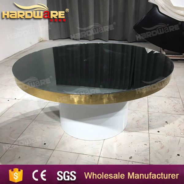 stainless steel frame glass top outdoor round table