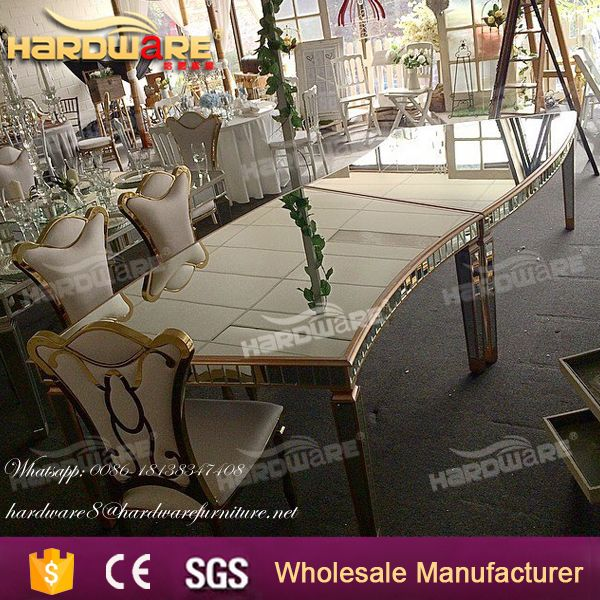 modern tempered glossy glass wedding banquet dining table