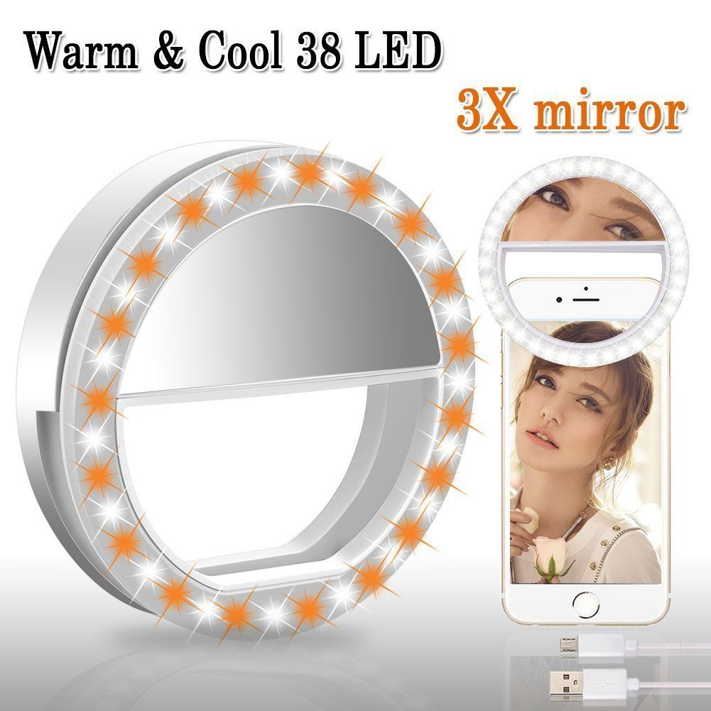 BMK Selfie Ring Light Clip Rechargeable 38 LED Bulbs Adjustable Selfie Lighting with 3X Magnifying Mirror for Tablet, iPad, Laptop etc (3X Mirror