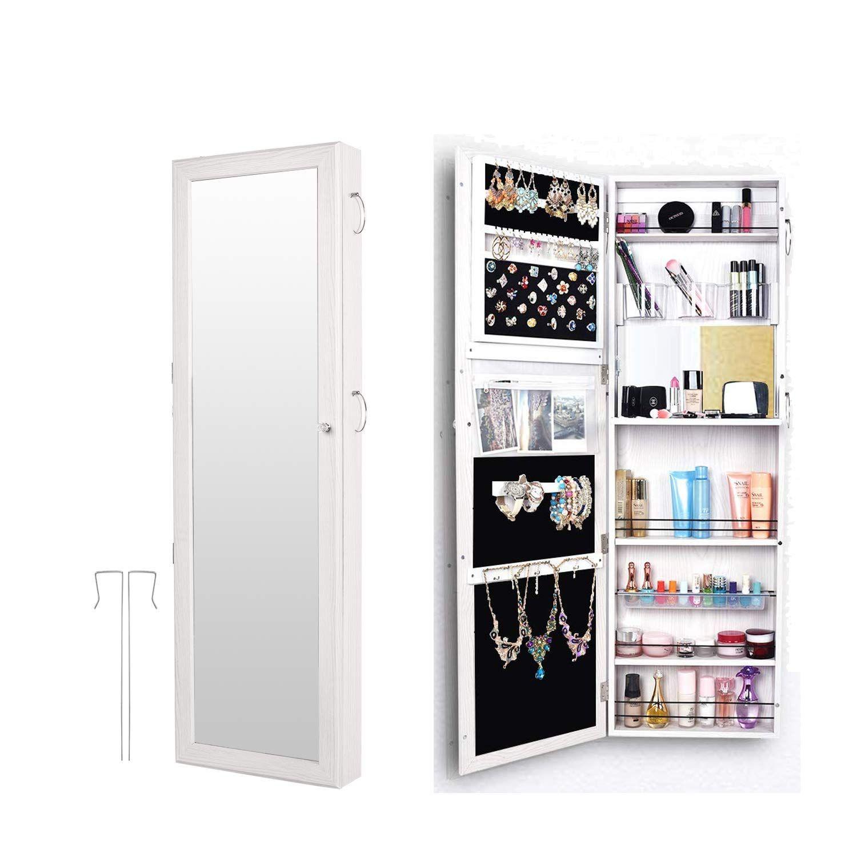 Bonnlo 2 In 1 Jewelry Armoire Wall Mounted Door Hanging Cabinet Full Length Mirror Lockable Storage Bedroom Organizer Xmas New Year 52 L X 18 W 您的网站名称